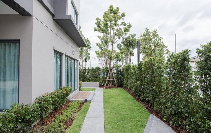 จัดสวนไม้ระแนงข้างบ้านมุมพักผ่อน